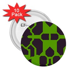 Brown Green Shapes 2 25  Button (10 Pack) by LalyLauraFLM
