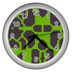 Brown Green Shapes Wall Clock (silver) by LalyLauraFLM