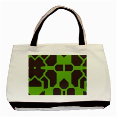 Brown Green Shapes Basic Tote Bag by LalyLauraFLM