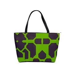 Brown Green Shapes Classic Shoulder Handbag by LalyLauraFLM