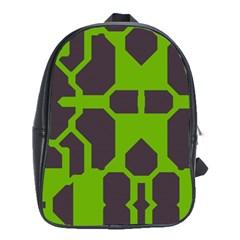 Brown Green Shapes School Bag (large) by LalyLauraFLM