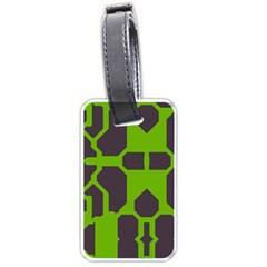 Brown Green Shapes Luggage Tag (two Sides) by LalyLauraFLM