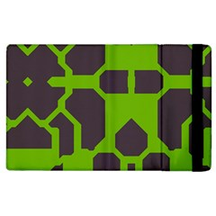 Brown Green Shapes Apple Ipad 2 Flip Case by LalyLauraFLM