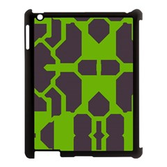 Brown Green Shapes Apple Ipad 3/4 Case (black) by LalyLauraFLM