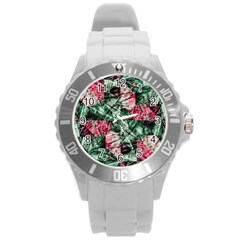 Luxury Grunge Digital Pattern Round Plastic Sport Watch (l) by dflcprints