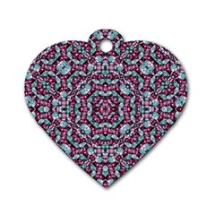 Luxury Grunge Digital Pattern Dog Tag Heart (two Sides) by dflcprints