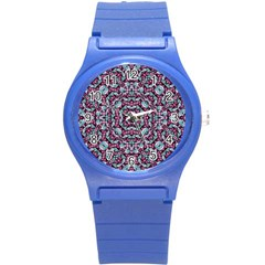 Luxury Grunge Digital Pattern Round Plastic Sport Watch (s) by dflcprints