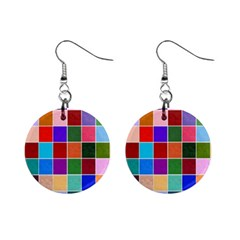 Multi Colour Squares Pattern Mini Button Earrings by LovelyDesigns4U