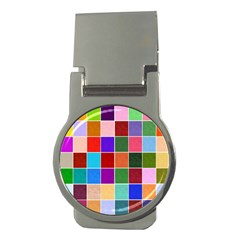 Multi Colour Squares Pattern Money Clips (round)  by LovelyDesigns4U
