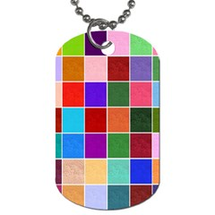 Multi Colour Squares Pattern Dog Tag (two Sides) by LovelyDesigns4U