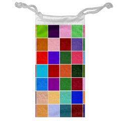 Multi Colour Squares Pattern Jewelry Bags by LovelyDesigns4U
