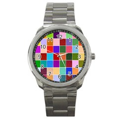 Multi Colour Squares Pattern Sport Metal Watches by LovelyDesigns4U