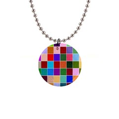 Multi Colour Squares Pattern Button Necklaces by LovelyDesigns4U