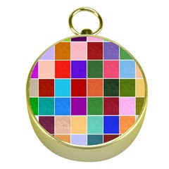 Multi Colour Squares Pattern Gold Compasses by LovelyDesigns4U