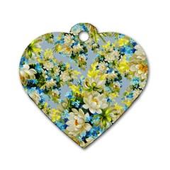 Vintage Floral Pattern Dog Tag Heart (one Side)