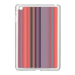 Triangles And Stripes Pattern Apple Ipad Mini Case (white) by LalyLauraFLM