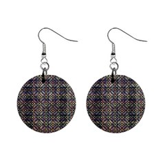 Multicolored Ethnic Check Seamless Pattern Mini Button Earrings by dflcprints