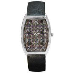 Multicolored Ethnic Check Seamless Pattern Barrel Metal Watches by dflcprints