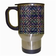 Multicolored Ethnic Check Seamless Pattern Travel Mugs (white) by dflcprints