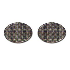Multicolored Ethnic Check Seamless Pattern Cufflinks (oval) by dflcprints