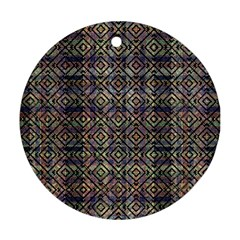 Multicolored Ethnic Check Seamless Pattern Round Ornament (two Sides)  by dflcprints