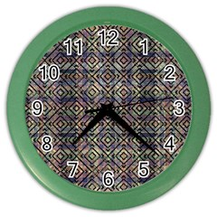 Multicolored Ethnic Check Seamless Pattern Color Wall Clocks by dflcprints