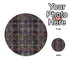 Multicolored Ethnic Check Seamless Pattern Multi Purpose Cards (round)