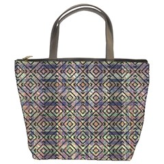 Multicolored Ethnic Check Seamless Pattern Bucket Bags by dflcprints