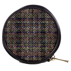 Multicolored Ethnic Check Seamless Pattern Mini Makeup Bags by dflcprints