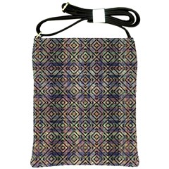 Multicolored Ethnic Check Seamless Pattern Shoulder Sling Bags by dflcprints
