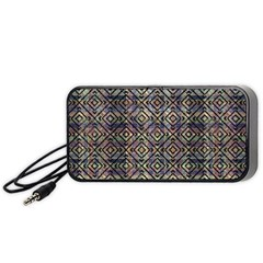 Multicolored Ethnic Check Seamless Pattern Portable Speaker (black)  by dflcprints