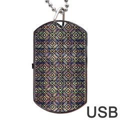 Multicolored Ethnic Check Seamless Pattern Dog Tag Usb Flash (one Side) by dflcprints