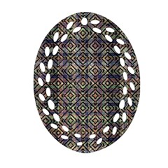 Multicolored Ethnic Check Seamless Pattern Oval Filigree Ornament (2 Side)