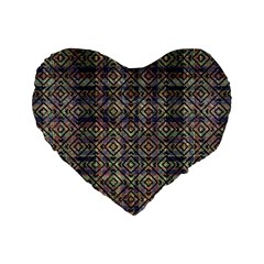 Multicolored Ethnic Check Seamless Pattern Standard 16  Premium Flano Heart Shape Cushions by dflcprints