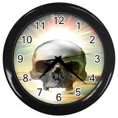 Skull Sunset Wall Clocks (black) by icarusismartdesigns