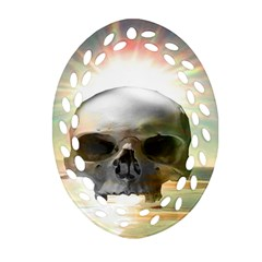Skull Sunset Oval Filigree Ornament (2 Side)  by icarusismartdesigns