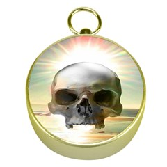 Skull Sunset Gold Compasses by icarusismartdesigns