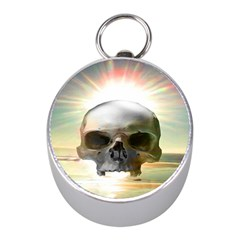 Skull Sunset Mini Silver Compasses by icarusismartdesigns