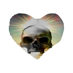 Skull Sunset Standard 16  Premium Flano Heart Shape Cushions by icarusismartdesigns