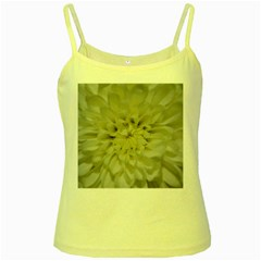 White Flowers Yellow Spaghetti Tanks by timelessartoncanvas