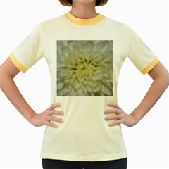 White Flowers Women s Fitted Ringer T-Shirts