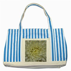 White Flowers Striped Blue Tote Bag  by timelessartoncanvas
