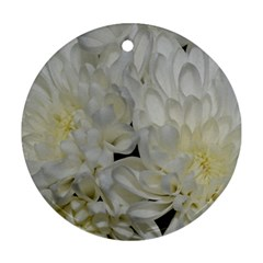 White Flowers 2 Ornament (round)  by timelessartoncanvas