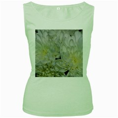 White Flowers 2 Women s Green Tank Tops by timelessartoncanvas