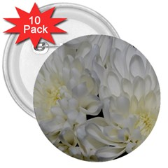 White Flowers 2 3  Buttons (10 Pack)  by timelessartoncanvas