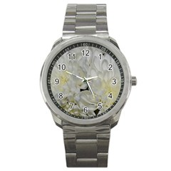 White Flowers 2 Sport Metal Watches by timelessartoncanvas