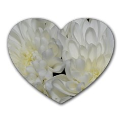 White Flowers 2 Heart Mousepads by timelessartoncanvas