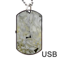 White Flowers 2 Dog Tag Usb Flash (two Sides)  by timelessartoncanvas