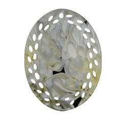 White Flowers 2 Oval Filigree Ornament (2 Side)  by timelessartoncanvas