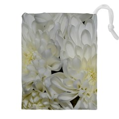 White Flowers 2 Drawstring Pouch (xxl) by timelessartoncanvas